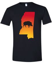 Load image into Gallery viewer, Short Sleeve T-Shirt Mississippi Black Wild Hog Vibrant Design High Quality Tight Knit Ring Spun Low Maintenance Cotton Printed With The Newest Available Color Transfer Technology