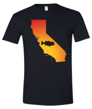 Load image into Gallery viewer, Short Sleeve T-Shirt California Black Large Mouth Bass Vibrant Design High Quality Tight Knit Ring Spun Low Maintenance Cotton Printed With The Newest Available Color Transfer Technology