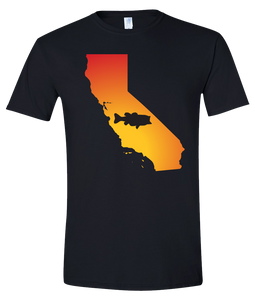 Short Sleeve T-Shirt California Black Large Mouth Bass Vibrant Design High Quality Tight Knit Ring Spun Low Maintenance Cotton Printed With The Newest Available Color Transfer Technology