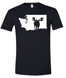Short Sleeve T-Shirt Washington Black Moose Vibrant Design High Quality Tight Knit Ring Spun Low Maintenance Cotton Printed With The Newest Available Color Transfer Technology