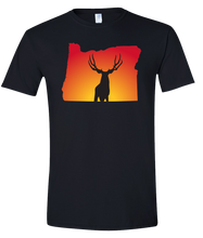 Load image into Gallery viewer, Short Sleeve T-Shirt Oregon Black Mule Deer Vibrant Design High Quality Tight Knit Ring Spun Low Maintenance Cotton Printed With The Newest Available Color Transfer Technology