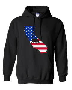 Pullover Hooded Sweatshirt California Black Wild Hog Vibrant Design High Quality Tight Knit Ring Spun Low Maintenance Cotton Printed With The Newest Available Color Transfer Technology