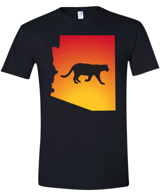 Short Sleeve T-Shirt Arizona Black Mountain Lion Vibrant Design High Quality Tight Knit Ring Spun Low Maintenance Cotton Printed With The Newest Available Color Transfer Technology