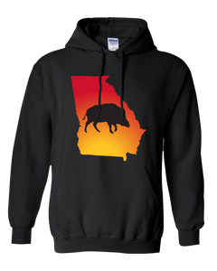 Pullover Hooded Sweatshirt Georgia Black Wild Hog Vibrant Design High Quality Tight Knit Ring Spun Low Maintenance Cotton Printed With The Newest Available Color Transfer Technology