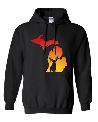 Pullover Hooded Sweatshirt Michigan Black Whitetail Deer Vibrant Design High Quality Tight Knit Ring Spun Low Maintenance Cotton Printed With The Newest Available Color Transfer Technology
