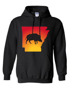 Pullover Hooded Sweatshirt Arkansas Black Wild Hog Vibrant Design High Quality Tight Knit Ring Spun Low Maintenance Cotton Printed With The Newest Available Color Transfer Technology