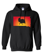 Load image into Gallery viewer, Pullover Hooded Sweatshirt South Dakota Black Turkey Vibrant Design High Quality Tight Knit Ring Spun Low Maintenance Cotton Printed With The Newest Available Color Transfer Technology