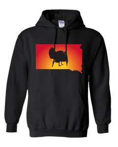 Pullover Hooded Sweatshirt South Dakota Black Turkey Vibrant Design High Quality Tight Knit Ring Spun Low Maintenance Cotton Printed With The Newest Available Color Transfer Technology
