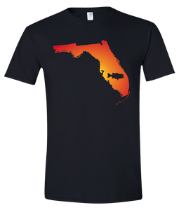 Short Sleeve T-Shirt Florida Black Large Mouth Bass Vibrant Design High Quality Tight Knit Ring Spun Low Maintenance Cotton Printed With The Newest Available Color Transfer Technology