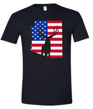 Load image into Gallery viewer, Short Sleeve T-Shirt Arizona Black Mule Deer Vibrant Design High Quality Tight Knit Ring Spun Low Maintenance Cotton Printed With The Newest Available Color Transfer Technology