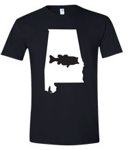 Load image into Gallery viewer, Short Sleeve T-Shirt Alabama Black Large Mouth Bass Vibrant Design High Quality Tight Knit Ring Spun Low Maintenance Cotton Printed With The Newest Available Color Transfer Technology