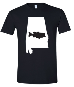 Short Sleeve T-Shirt Alabama Black Large Mouth Bass Vibrant Design High Quality Tight Knit Ring Spun Low Maintenance Cotton Printed With The Newest Available Color Transfer Technology