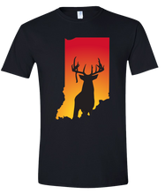 Load image into Gallery viewer, Short Sleeve T-Shirt Indiana Black Whitetail Deer Vibrant Design High Quality Tight Knit Ring Spun Low Maintenance Cotton Printed With The Newest Available Color Transfer Technology