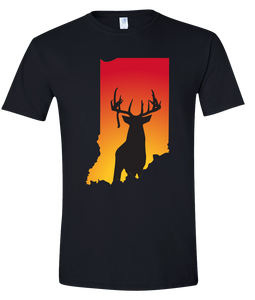 Short Sleeve T-Shirt Indiana Black Whitetail Deer Vibrant Design High Quality Tight Knit Ring Spun Low Maintenance Cotton Printed With The Newest Available Color Transfer Technology