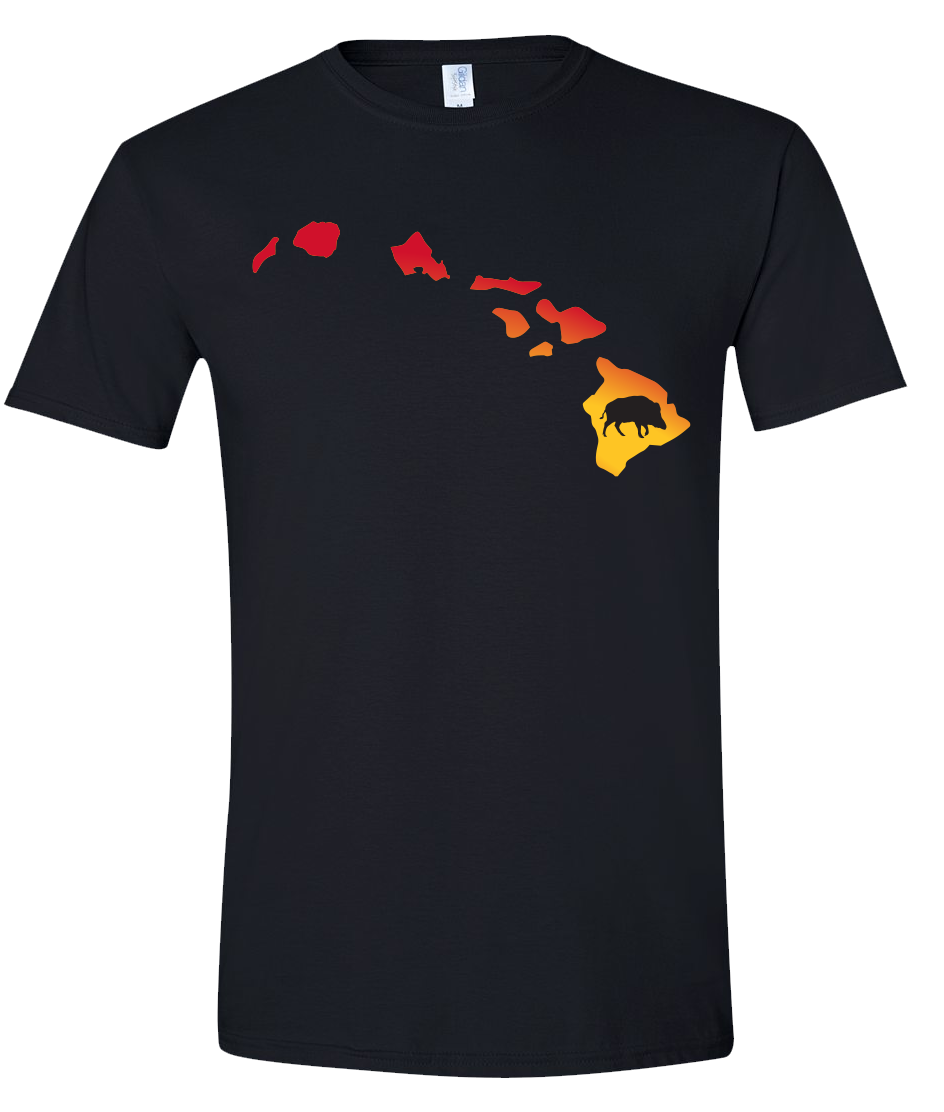 Short Sleeve T-Shirt Hawaii Black Wild Hog Vibrant Design High Quality Tight Knit Ring Spun Low Maintenance Cotton Printed With The Newest Available Color Transfer Technology