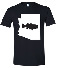 Load image into Gallery viewer, Short Sleeve T-Shirt Arizona Black Large Mouth Bass Vibrant Design High Quality Tight Knit Ring Spun Low Maintenance Cotton Printed With The Newest Available Color Transfer Technology