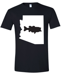 Short Sleeve T-Shirt Arizona Black Large Mouth Bass Vibrant Design High Quality Tight Knit Ring Spun Low Maintenance Cotton Printed With The Newest Available Color Transfer Technology