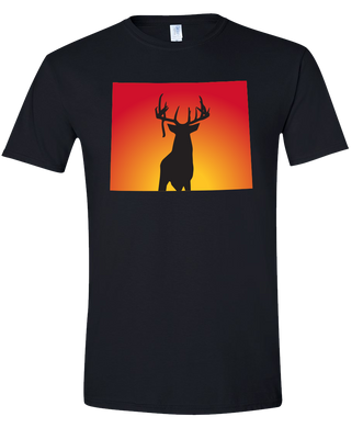 Short Sleeve T-Shirt Wyoming Black Whitetail Deer Vibrant Design High Quality Tight Knit Ring Spun Low Maintenance Cotton Printed With The Newest Available Color Transfer Technology