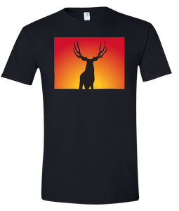 Short Sleeve T-Shirt Colorado Black Mule Deer Vibrant Design High Quality Tight Knit Ring Spun Low Maintenance Cotton Printed With The Newest Available Color Transfer Technology