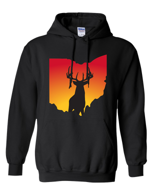 Pullover Hooded Sweatshirt Ohio Black Whitetail Deer Vibrant Design High Quality Tight Knit Ring Spun Low Maintenance Cotton Printed With The Newest Available Color Transfer Technology