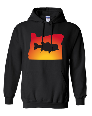 Pullover Hooded Sweatshirt Oregon Black Large Mouth Bass Vibrant Design High Quality Tight Knit Ring Spun Low Maintenance Cotton Printed With The Newest Available Color Transfer Technology