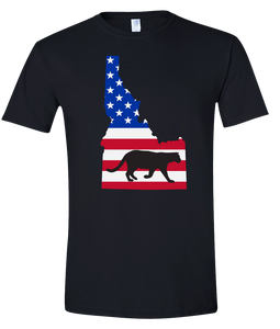 Short Sleeve T-Shirt Idaho Black Mountain Lion Vibrant Design High Quality Tight Knit Ring Spun Low Maintenance Cotton Printed With The Newest Available Color Transfer Technology
