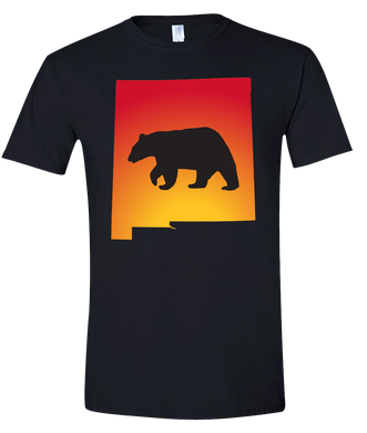 Short Sleeve T-Shirt New Mexico Black Black Bear Vibrant Design High Quality Tight Knit Ring Spun Low Maintenance Cotton Printed With The Newest Available Color Transfer Technology