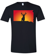 Load image into Gallery viewer, Short Sleeve T-Shirt South Dakota Black Whitetail Deer Vibrant Design High Quality Tight Knit Ring Spun Low Maintenance Cotton Printed With The Newest Available Color Transfer Technology