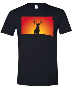 Short Sleeve T-Shirt South Dakota Black Whitetail Deer Vibrant Design High Quality Tight Knit Ring Spun Low Maintenance Cotton Printed With The Newest Available Color Transfer Technology