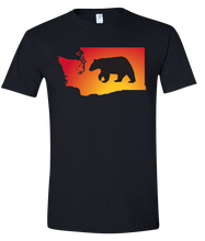 Load image into Gallery viewer, Short Sleeve T-Shirt Washington Black Black Bear Vibrant Design High Quality Tight Knit Ring Spun Low Maintenance Cotton Printed With The Newest Available Color Transfer Technology