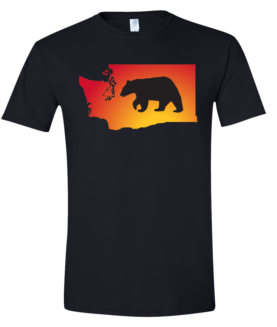Short Sleeve T-Shirt Washington Black Black Bear Vibrant Design High Quality Tight Knit Ring Spun Low Maintenance Cotton Printed With The Newest Available Color Transfer Technology