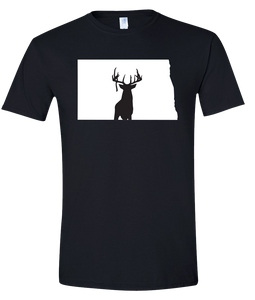 Short Sleeve T-Shirt North Dakota Black Whitetail Deer Vibrant Design High Quality Tight Knit Ring Spun Low Maintenance Cotton Printed With The Newest Available Color Transfer Technology