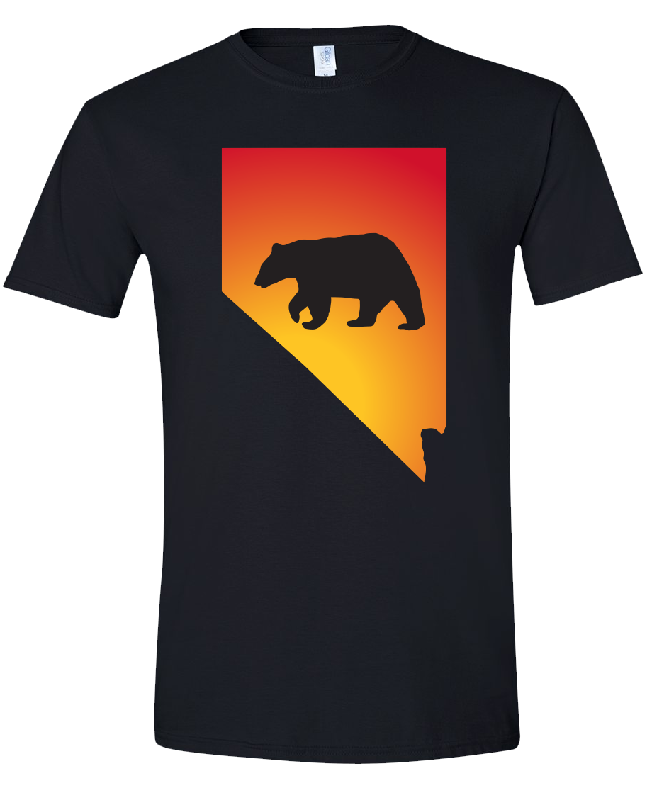 Short Sleeve T-Shirt Nevada Black Black Bear Vibrant Design High Quality Tight Knit Ring Spun Low Maintenance Cotton Printed With The Newest Available Color Transfer Technology