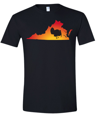 Short Sleeve T-Shirt Virginia Black Turkey Vibrant Design High Quality Tight Knit Ring Spun Low Maintenance Cotton Printed With The Newest Available Color Transfer Technology