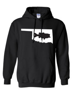 Pullover Hooded Sweatshirt Oklahoma Black Large Mouth Bass Vibrant Design High Quality Tight Knit Ring Spun Low Maintenance Cotton Printed With The Newest Available Color Transfer Technology