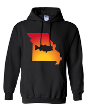 Load image into Gallery viewer, Pullover Hooded Sweatshirt Missouri Black Large Mouth Bass Vibrant Design High Quality Tight Knit Ring Spun Low Maintenance Cotton Printed With The Newest Available Color Transfer Technology
