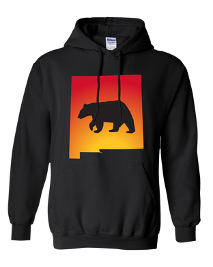Pullover Hooded Sweatshirt New Mexico Black Black Bear Vibrant Design High Quality Tight Knit Ring Spun Low Maintenance Cotton Printed With The Newest Available Color Transfer Technology