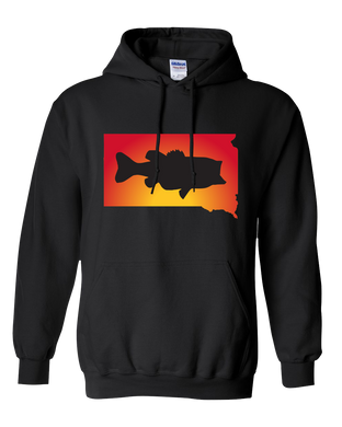 Pullover Hooded Sweatshirt South Dakota Black Large Mouth Bass Vibrant Design High Quality Tight Knit Ring Spun Low Maintenance Cotton Printed With The Newest Available Color Transfer Technology