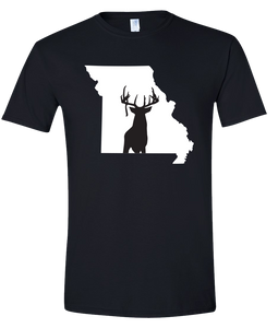 Short Sleeve T-Shirt Missouri Black Whitetail Deer Vibrant Design High Quality Tight Knit Ring Spun Low Maintenance Cotton Printed With The Newest Available Color Transfer Technology