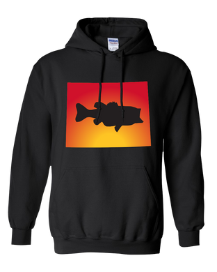 Pullover Hooded Sweatshirt Wyoming Black Large Mouth Bass Vibrant Design High Quality Tight Knit Ring Spun Low Maintenance Cotton Printed With The Newest Available Color Transfer Technology