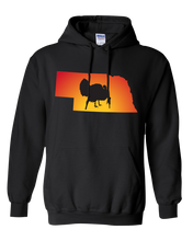 Load image into Gallery viewer, Pullover Hooded Sweatshirt Nebraska Black Turkey Vibrant Design High Quality Tight Knit Ring Spun Low Maintenance Cotton Printed With The Newest Available Color Transfer Technology
