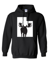 Load image into Gallery viewer, Pullover Hooded Sweatshirt Utah Black Moose Vibrant Design High Quality Tight Knit Ring Spun Low Maintenance Cotton Printed With The Newest Available Color Transfer Technology
