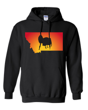 Load image into Gallery viewer, Pullover Hooded Sweatshirt Montana Black Turkey Vibrant Design High Quality Tight Knit Ring Spun Low Maintenance Cotton Printed With The Newest Available Color Transfer Technology