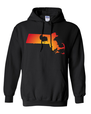 Pullover Hooded Sweatshirt Massachusetts Black Turkey Vibrant Design High Quality Tight Knit Ring Spun Low Maintenance Cotton Printed With The Newest Available Color Transfer Technology
