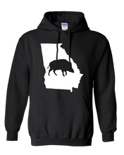 Load image into Gallery viewer, Pullover Hooded Sweatshirt Georgia Black Wild Hog Vibrant Design High Quality Tight Knit Ring Spun Low Maintenance Cotton Printed With The Newest Available Color Transfer Technology