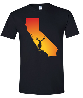 Short Sleeve T-Shirt California Black Mule Deer Vibrant Design High Quality Tight Knit Ring Spun Low Maintenance Cotton Printed With The Newest Available Color Transfer Technology