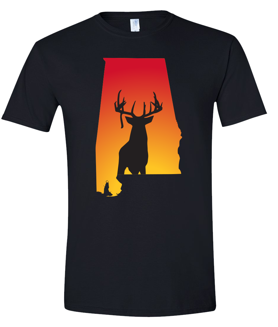 Short Sleeve T-Shirt Alabama Black Whitetail Deer Vibrant Design High Quality Tight Knit Ring Spun Low Maintenance Cotton Printed With The Newest Available Color Transfer Technology