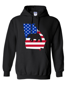 Pullover Hooded Sweatshirt Georgia Black Black Bear Vibrant Design High Quality Tight Knit Ring Spun Low Maintenance Cotton Printed With The Newest Available Color Transfer Technology