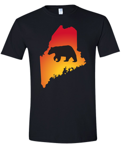 Short Sleeve T-Shirt Maine Black Black Bear Vibrant Design High Quality Tight Knit Ring Spun Low Maintenance Cotton Printed With The Newest Available Color Transfer Technology