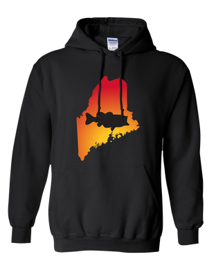 Pullover Hooded Sweatshirt Maine Black Large Mouth Bass Vibrant Design High Quality Tight Knit Ring Spun Low Maintenance Cotton Printed With The Newest Available Color Transfer Technology